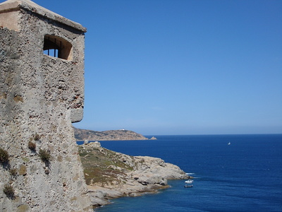 A view along the cost to the west of the Calvi citadel