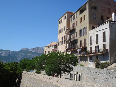Houses on the eastern side of the Calvi citadel