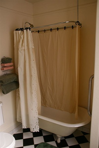 The devils own shower curtain, double layer to ensure maximum stickiness