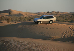 Our Land Cruiser, parked on a dune