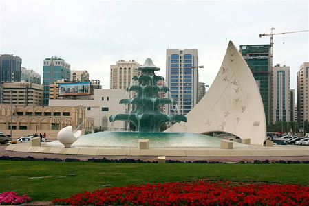Fountain in roundabout near Khalifa Complex and Meridien Village