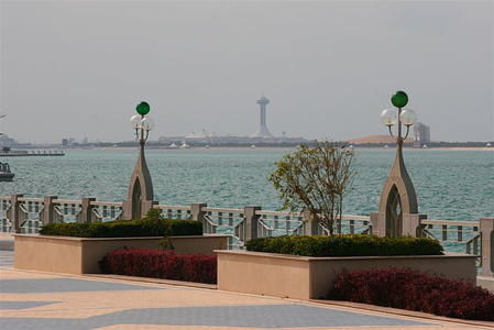 Detail from the Corniche with Lulu Island and Marina Mall in the background
