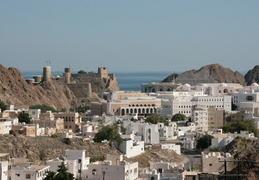 "View over ""Old"" Muscat Village and Al Alam Palace"